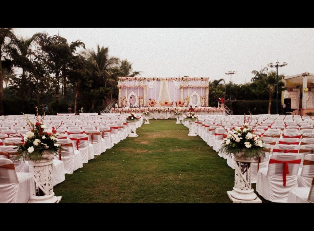 Full view of Orchid lawn with real flower decoration