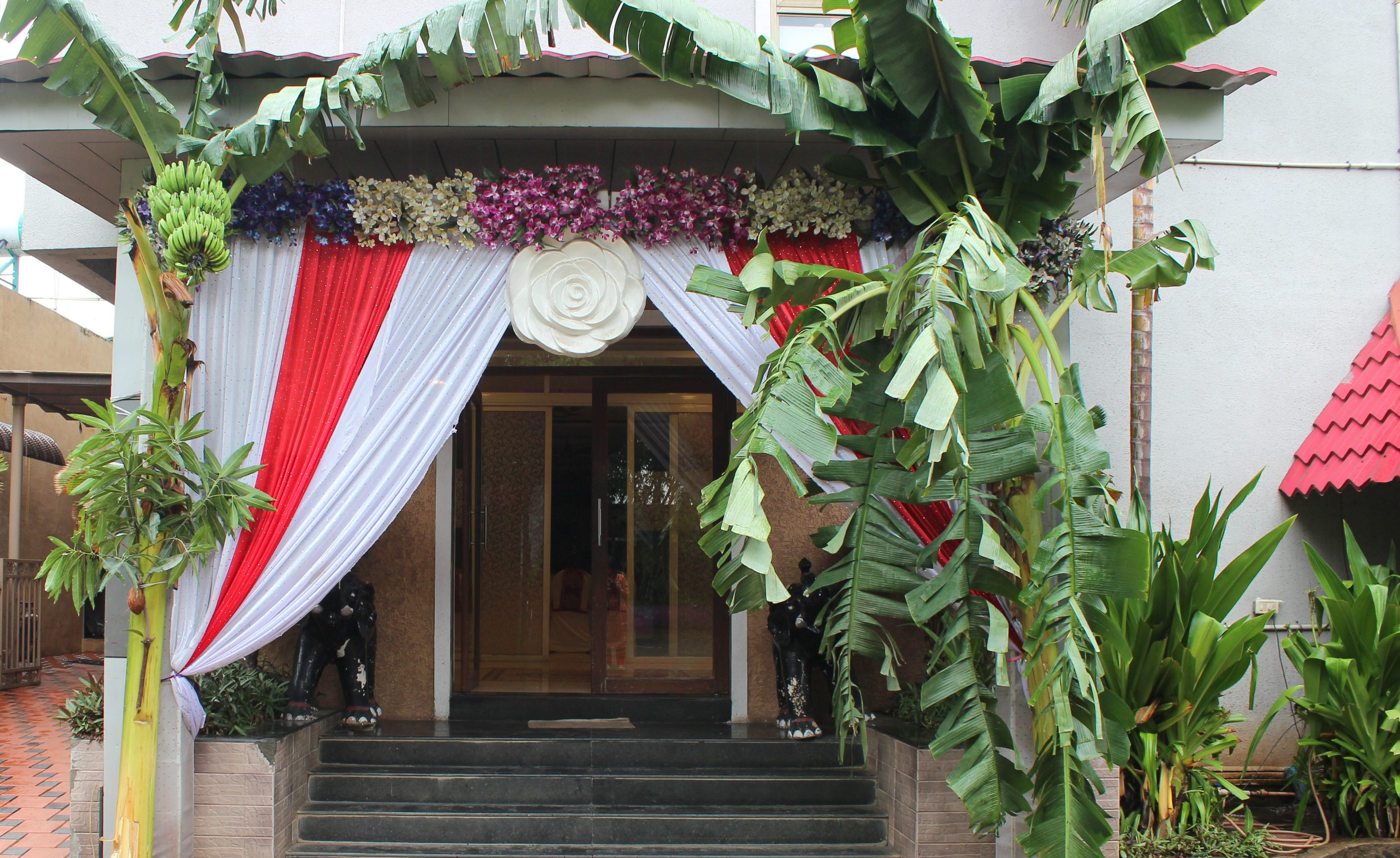 Entrance decorated with banana leaves