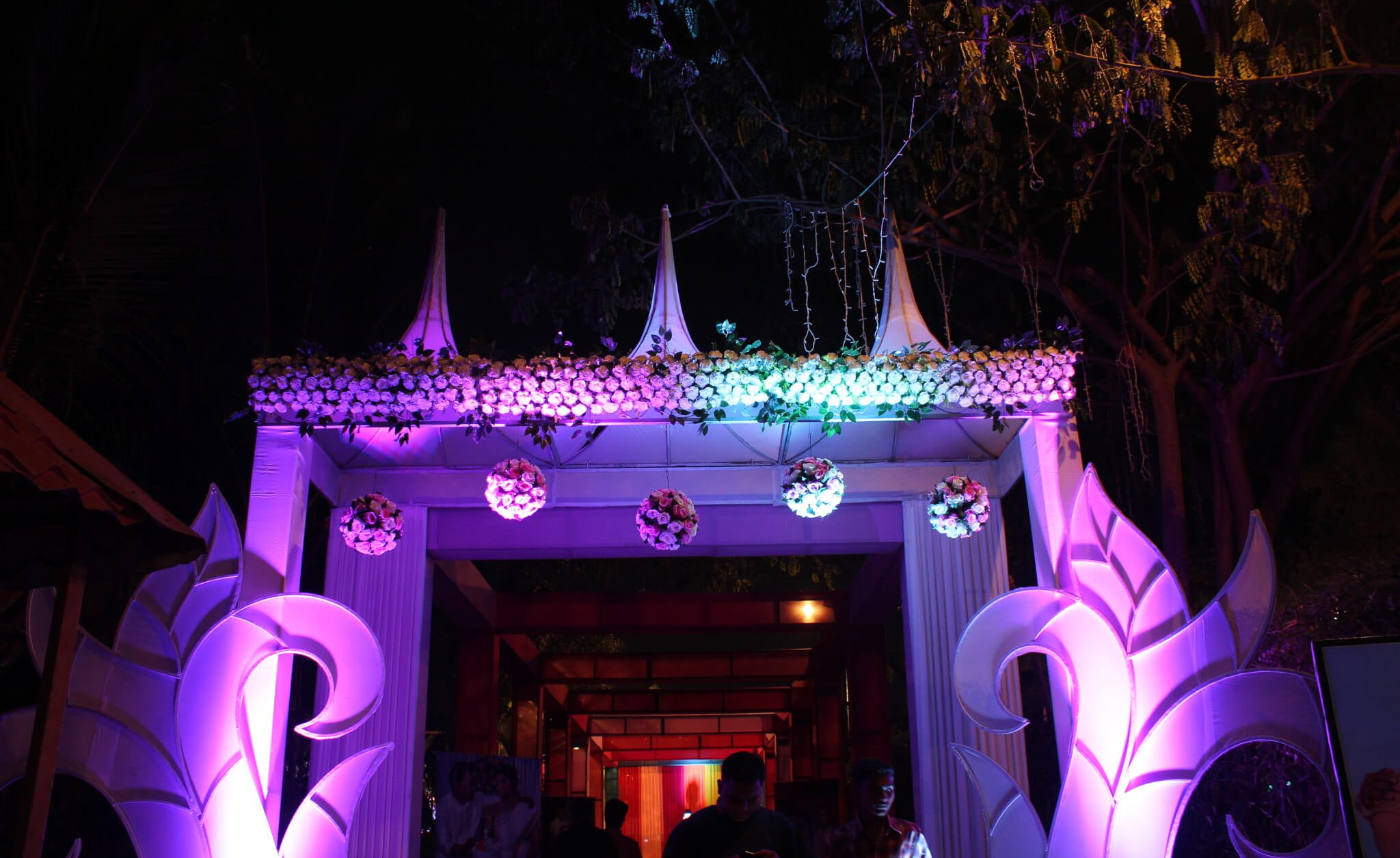Entrance of Exotica Lawn in the night